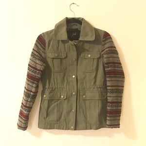 Army military jacket with sweater sleeves
